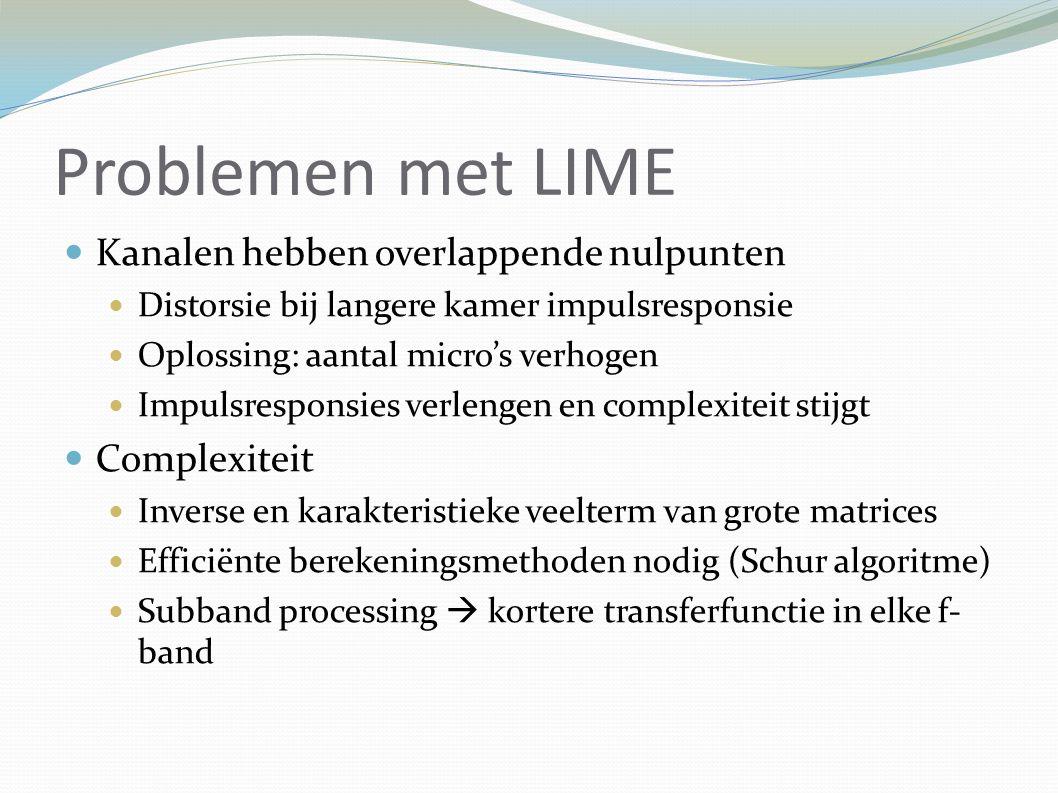 Problemen met LIME Kanalen hebben overlappende nulpunten Distorsie bij langere kamer impulsresponsie Oplossing: aantal micro's verhogen Impulsresponsies verlengen en complexiteit stijgt Complexiteit Inverse en karakteristieke veelterm van grote matrices Efficiënte berekeningsmethoden nodig (Schur algoritme) Subband processing  kortere transferfunctie in elke f- band