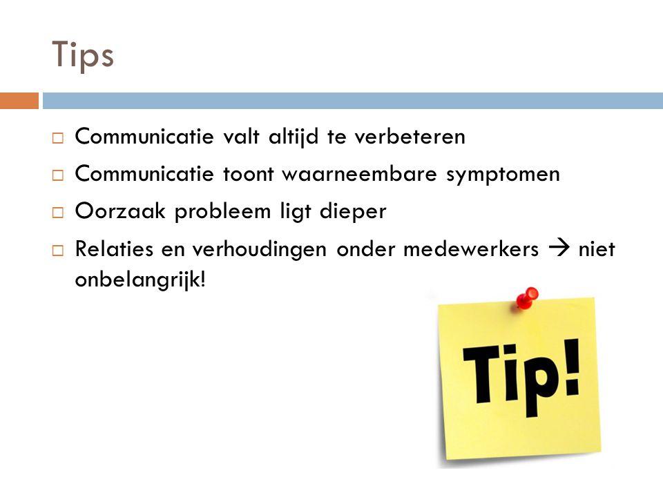 Tips  Communicatie valt altijd te verbeteren  Communicatie toont waarneembare symptomen  Oorzaak probleem ligt dieper  Relaties en verhoudingen on
