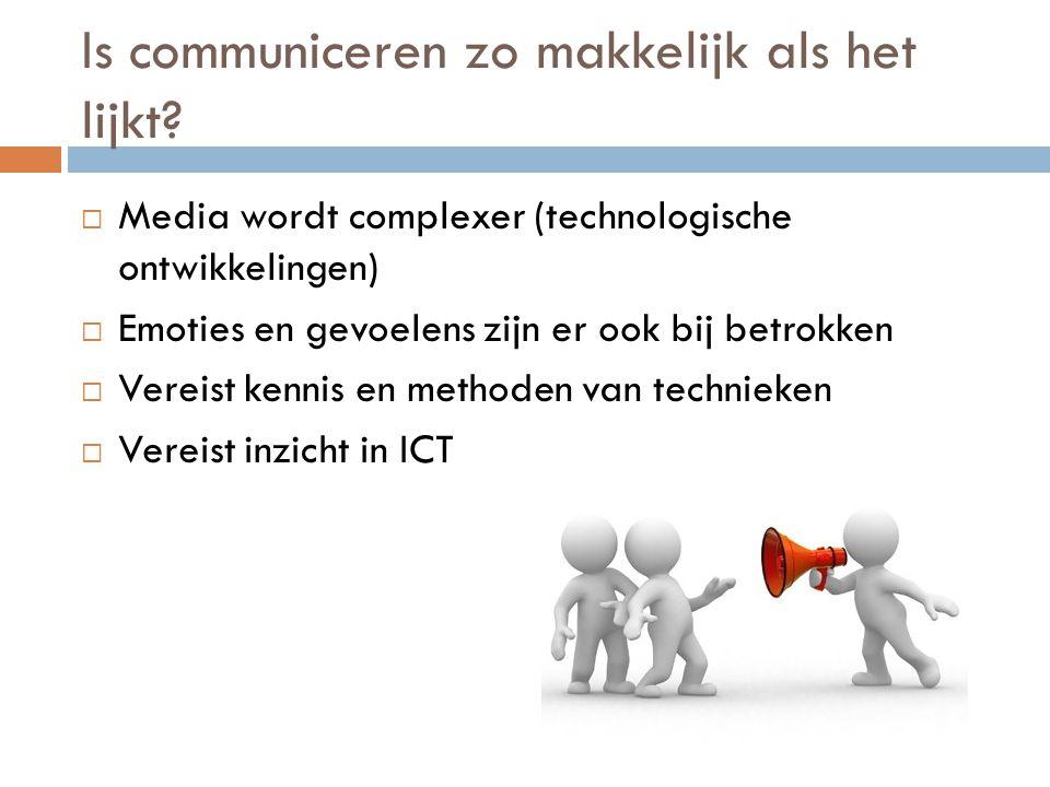 Is communiceren zo makkelijk als het lijkt?  Media wordt complexer (technologische ontwikkelingen)  Emoties en gevoelens zijn er ook bij betrokken 