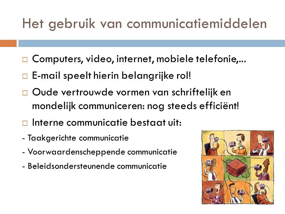 Het gebruik van communicatiemiddelen  Computers, video, internet, mobiele telefonie,...  E-mail speelt hierin belangrijke rol!  Oude vertrouwde vor