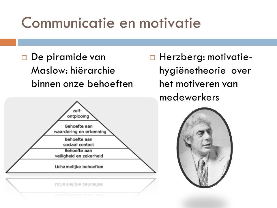 Communicatie en motivatie  De piramide van Maslow: hiërarchie binnen onze behoeften  Herzberg: motivatie- hygiënetheorie over het motiveren van mede