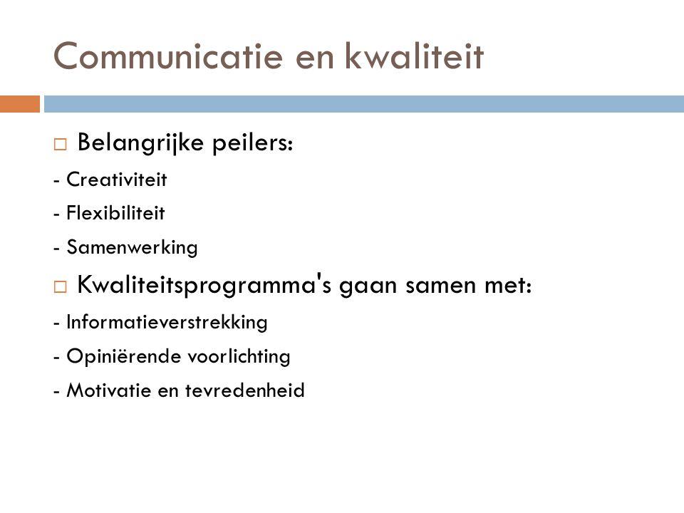 Communicatie en kwaliteit  Belangrijke peilers: - Creativiteit - Flexibiliteit - Samenwerking  Kwaliteitsprogramma's gaan samen met: - Informatiever