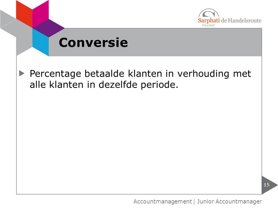 Percentage betaalde klanten in verhouding met alle klanten in dezelfde periode. 15 Accountmanagement | Junior Accountmanager Conversie