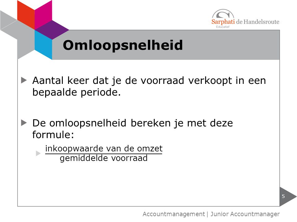 5 Accountmanagement | Junior Accountmanager Omloopsnelheid