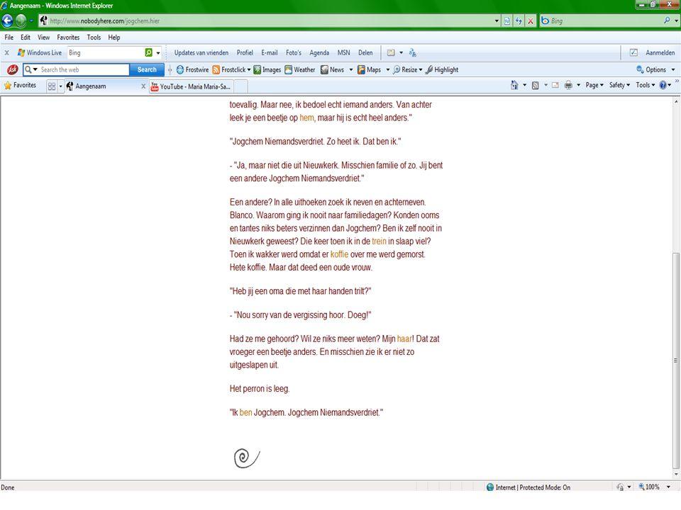 www.nobodyhere.com 7 jaar oud Hoe is het begonnen? Site bekijken –Kies een woord… –Ervaar zelf!