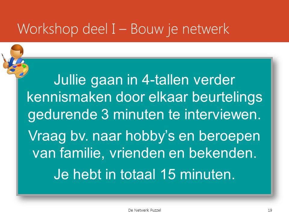 De Netwerk Puzzel Workshop deel I – Bouw je netwerk Jullie gaan in 4-tallen verder kennismaken door elkaar beurtelings gedurende 3 minuten te interviewen.