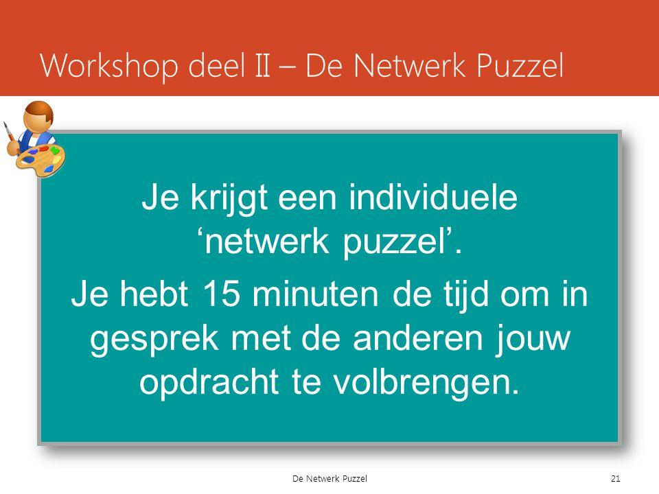 De Netwerk Puzzel Workshop deel II – De Netwerk Puzzel Je krijgt een individuele 'netwerk puzzel'.