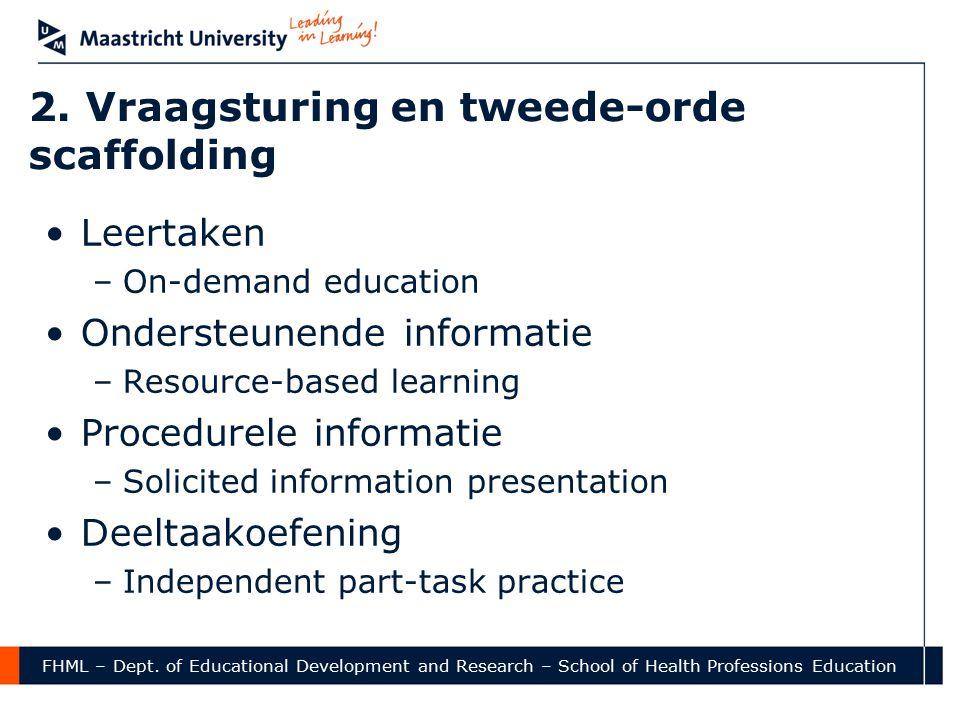 2. Vraagsturing en tweede-orde scaffolding Leertaken –On-demand education Ondersteunende informatie –Resource-based learning Procedurele informatie –S