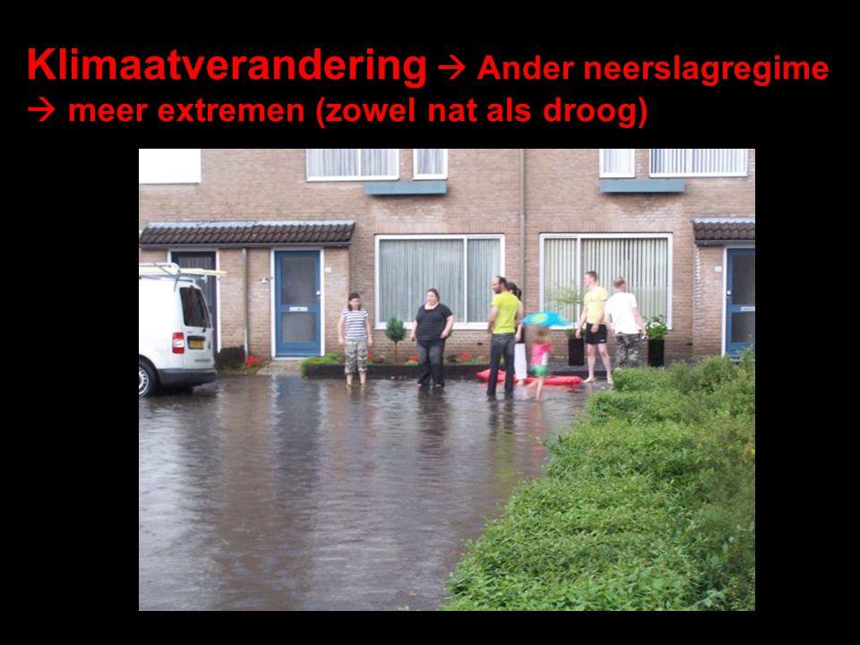 Klimaatverandering  Ander neerslagregime  meer extremen (zowel nat als droog)