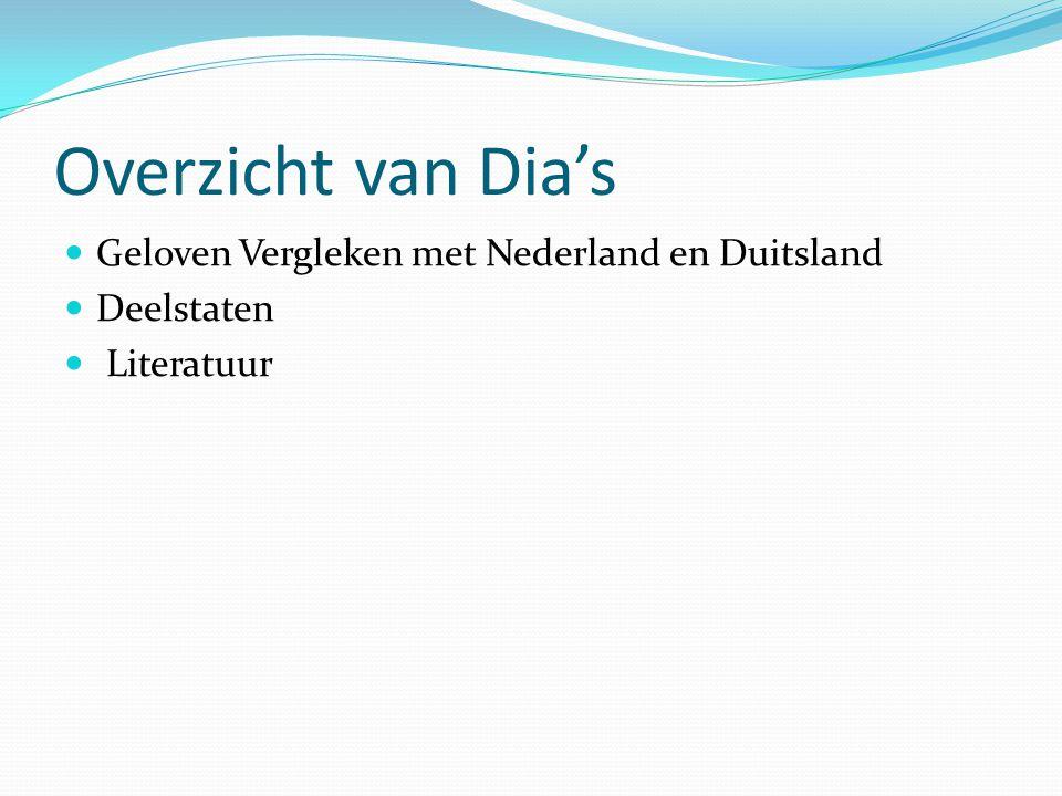 Overzicht van Dia's Geloven Vergleken met Nederland en Duitsland Deelstaten Literatuur