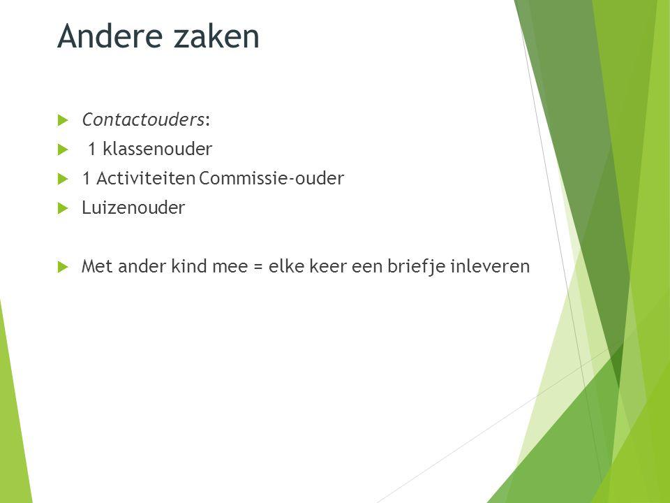 Andere zaken  Contactouders:  1 klassenouder  1 Activiteiten Commissie-ouder  Luizenouder  Met ander kind mee = elke keer een briefje inleveren