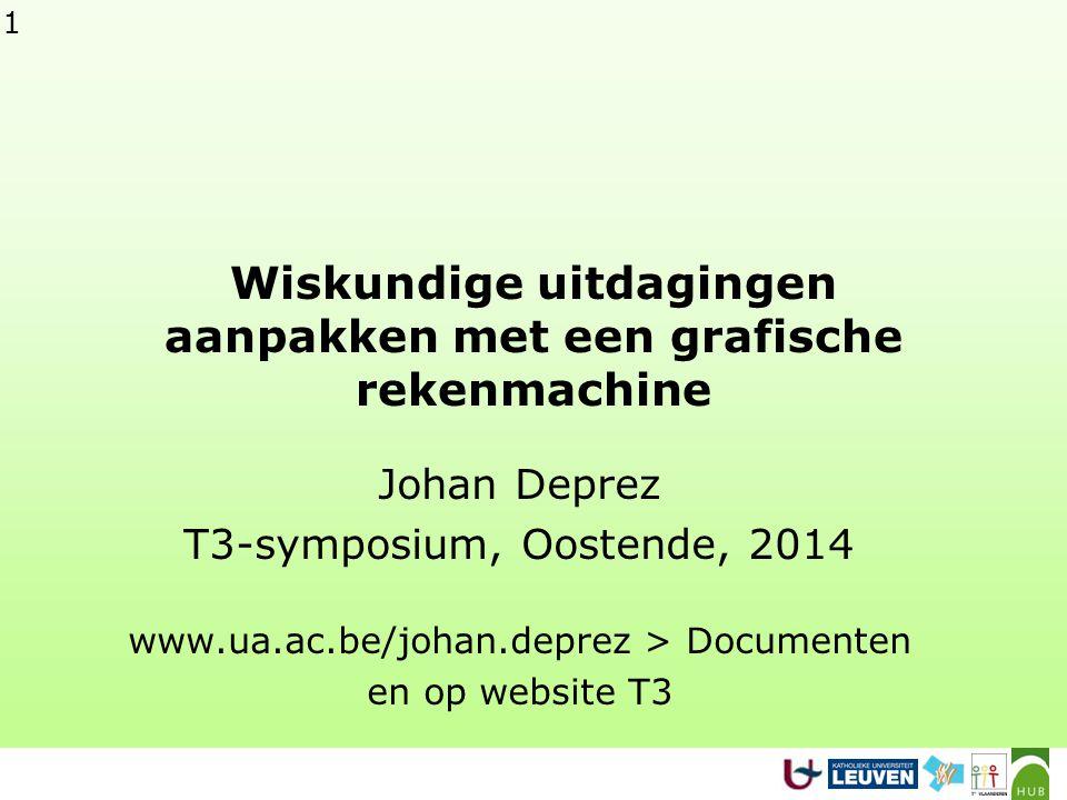 1 Wiskundige uitdagingen aanpakken met een grafische rekenmachine Johan Deprez T3-symposium, Oostende, 2014 www.ua.ac.be/johan.deprez > Documenten en op website T3