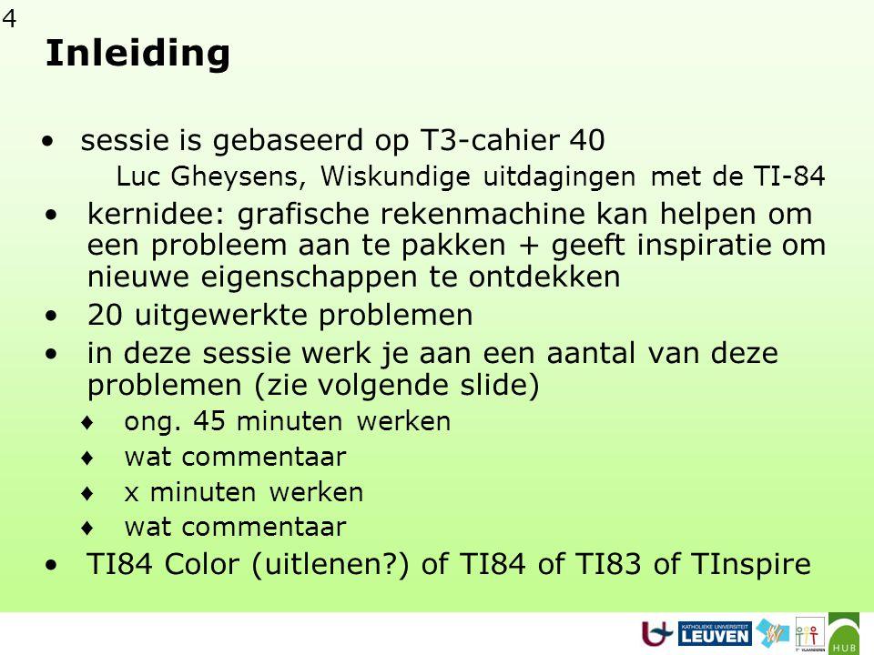 4 Inleiding sessie is gebaseerd op T3-cahier 40 Luc Gheysens, Wiskundige uitdagingen met de TI-84 kernidee: grafische rekenmachine kan helpen om een p