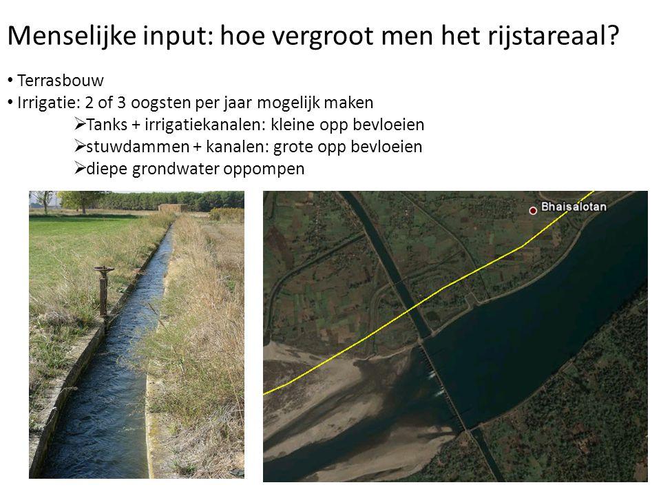 Menselijke input: hoe vergroot men het rijstareaal? Terrasbouw Irrigatie: 2 of 3 oogsten per jaar mogelijk maken  Tanks + irrigatiekanalen: kleine op