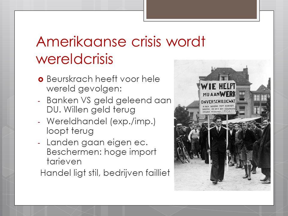 Amerikaanse crisis wordt wereldcrisis  Beurskrach heeft voor hele wereld gevolgen: - Banken VS geld geleend aan DU. Willen geld terug - Wereldhandel