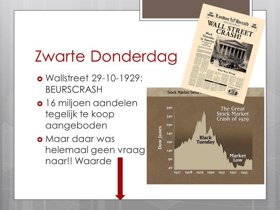Zwarte Donderdag  Wallstreet 29-10-1929: BEURSCRASH  16 miljoen aandelen tegelijk te koop aangeboden  Maar daar was helemaal geen vraag naar!! Waar