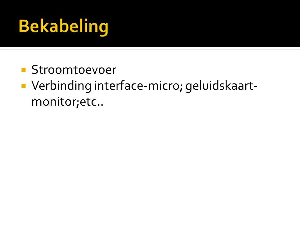  Stroomtoevoer  Verbinding interface-micro; geluidskaart- monitor;etc..