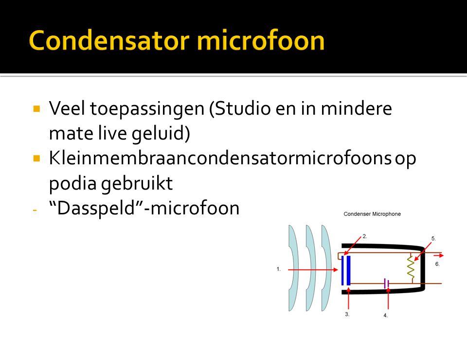 """ Veel toepassingen (Studio en in mindere mate live geluid)  Kleinmembraancondensatormicrofoons op podia gebruikt - """"Dasspeld""""-microfoon"""
