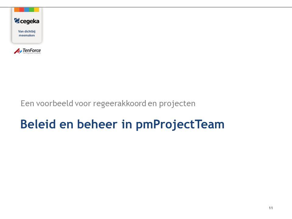 Een voorbeeld voor regeerakkoord en projecten 11 Beleid en beheer in pmProjectTeam