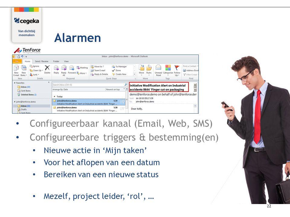Configureerbaar kanaal (Email, Web, SMS) Configureerbare triggers & bestemming(en) Nieuwe actie in 'Mijn taken' Voor het aflopen van een datum Bereiken van een nieuwe status Mezelf, project leider, 'rol', … 22 Alarmen