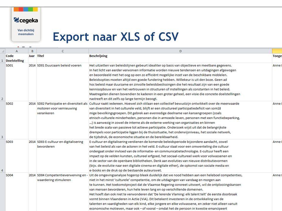 29 Export naar XLS of CSV