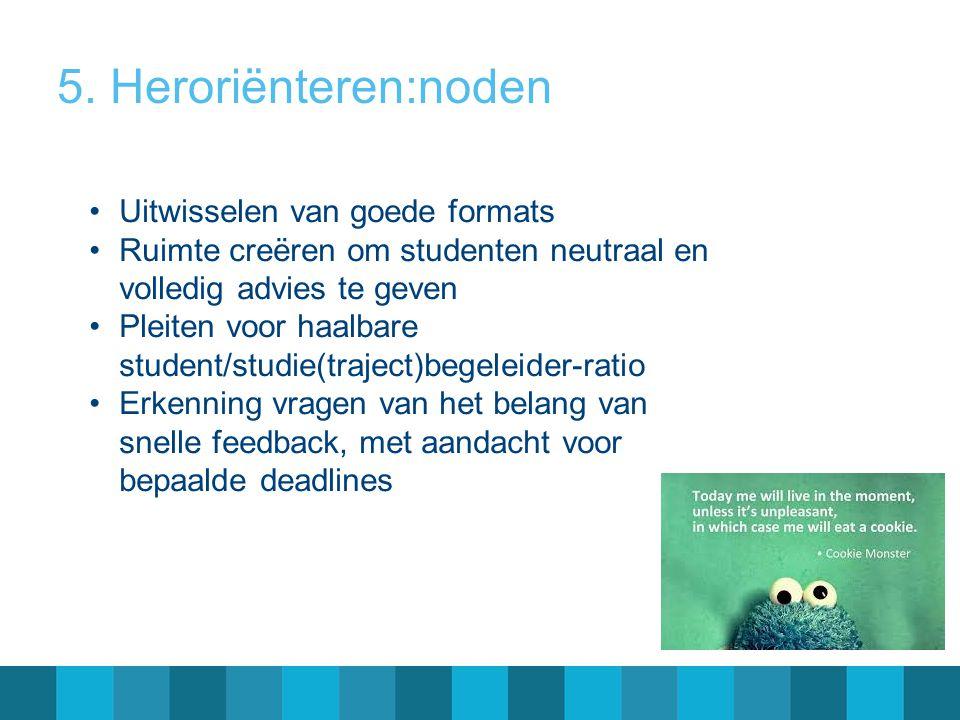 5. Heroriënteren: noden Aankaarten van een aantal gevolgen van regelgeving studievoortgang op Vlaams niveau Zich laten horen als SSB en de signaalfunc