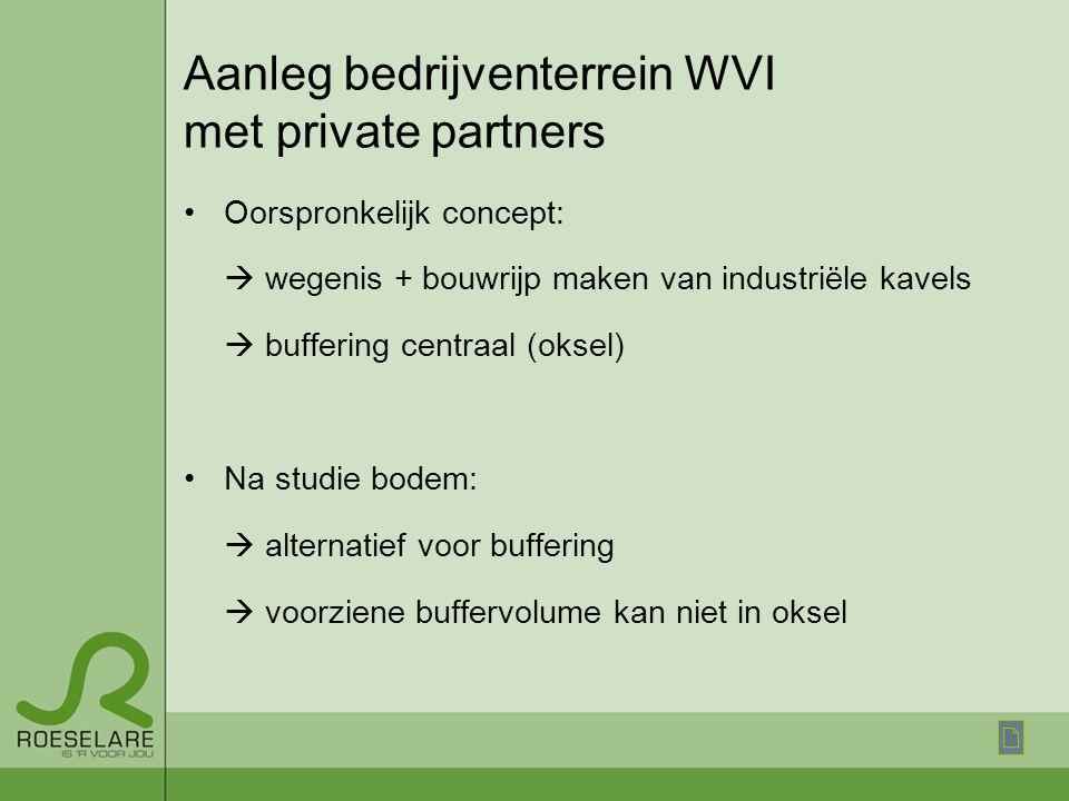 Aanleg bedrijventerrein WVI met private partners Oorspronkelijk concept:  wegenis + bouwrijp maken van industriële kavels  buffering centraal (oksel) Na studie bodem:  alternatief voor buffering  voorziene buffervolume kan niet in oksel