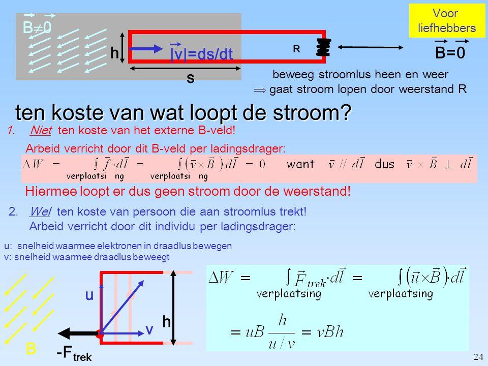 """23 I=1A  1 mm  Opp  0.75mm 2 N A =6  10 +23 /Mol 63.5g/Mol Z Cu =29; 2e - /Cu  Cu  9g/cm 3  #e - /m 3  1.7  10 +29 Vragen Hoe snel """"driften"""""""
