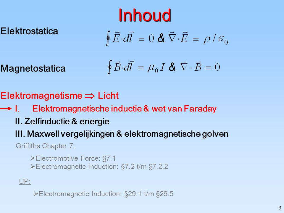 3 Inhoud Elektrostatica Magnetostatica Elektromagnetisme  Licht I.Elektromagnetische inductie & wet van Faraday II.