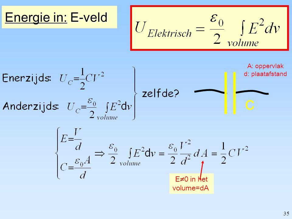 34 Energie in een: capaciteit C zelfinductor L De capaciteit wordt opgeladen: - warmte ontwikkeling in R weg - opgeladen capaciteit is opgeslagen energie Hoeveel energie is dat.
