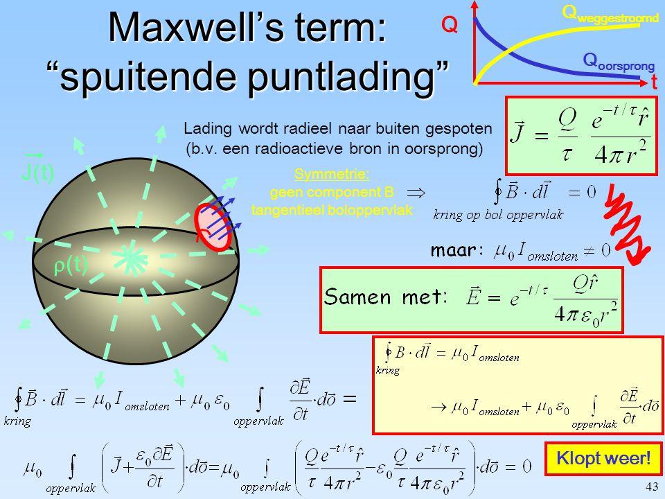 42 V0V0 C: Oppervlak: A Separatie: d Maxwell's term: opladende condensator Terwijl condensator oplaadt: (A) Rechterlid? Dus er mist iets! Gebruik feit