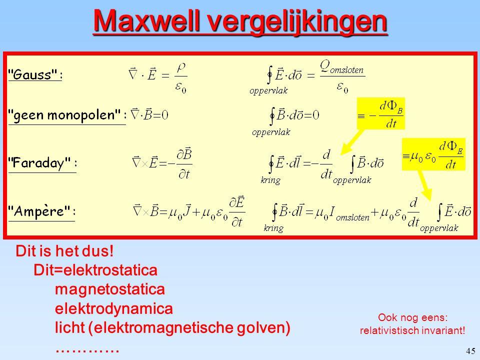 44 Behoud van lading (Continuïteit vergelijking) V volume  V omsluitend oppervlak geen behoud van lading! ladingsstroom door oppervlak ladingsverande