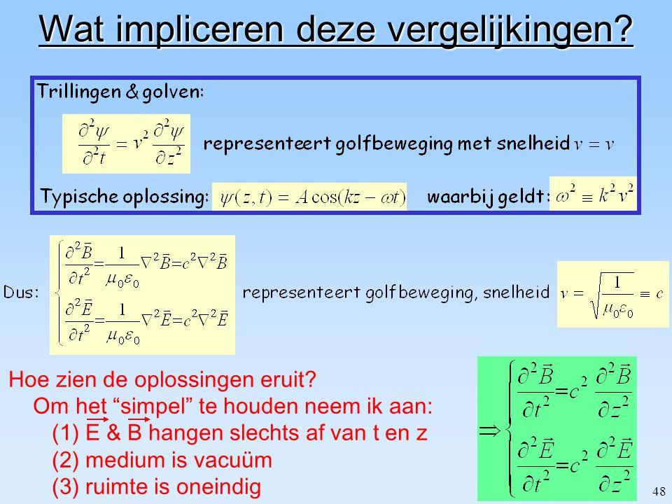 """47 Golfvergelijkingen voor E & B Gebruik Maxwell vergelijkingen in vacuüm d.w.z. """"vlakke golven""""  0 0  0 0"""