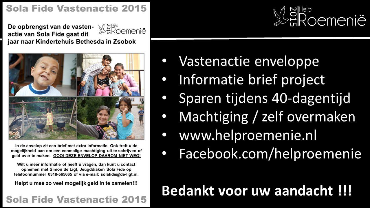 Vastenactie enveloppe Informatie brief project Sparen tijdens 40-dagentijd Machtiging / zelf overmaken www.helproemenie.nl Facebook.com/helproemenie B