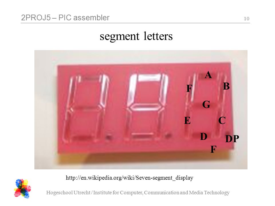 2PROJ5 – PIC assembler Hogeschool Utrecht / Institute for Computer, Communication and Media Technology 10 segment letters A B C DFDF E F G DP http://en.wikipedia.org/wiki/Seven-segment_display