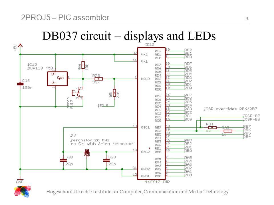 2PROJ5 – PIC assembler Hogeschool Utrecht / Institute for Computer, Communication and Media Technology 4 DB037 circuit – H multiplexer