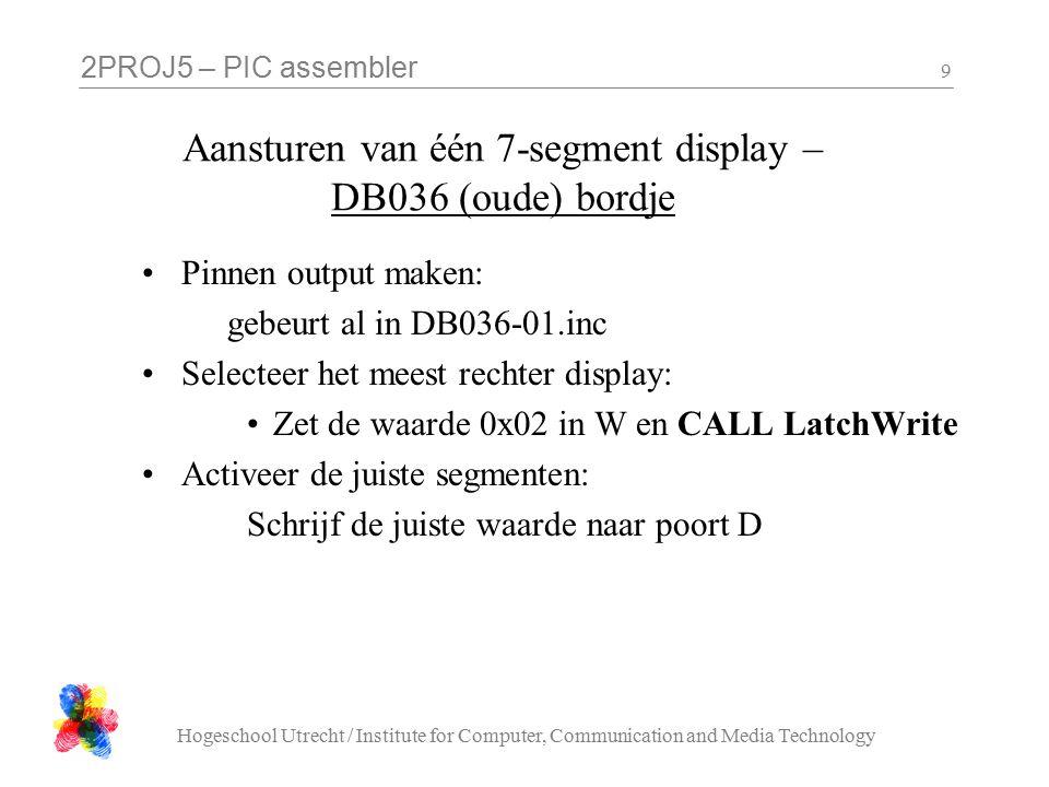 2PROJ5 – PIC assembler Hogeschool Utrecht / Institute for Computer, Communication and Media Technology 10 segment letters A B C DFDF E F G DP http://en.wikipedia.org/wiki/Seven-segment_display