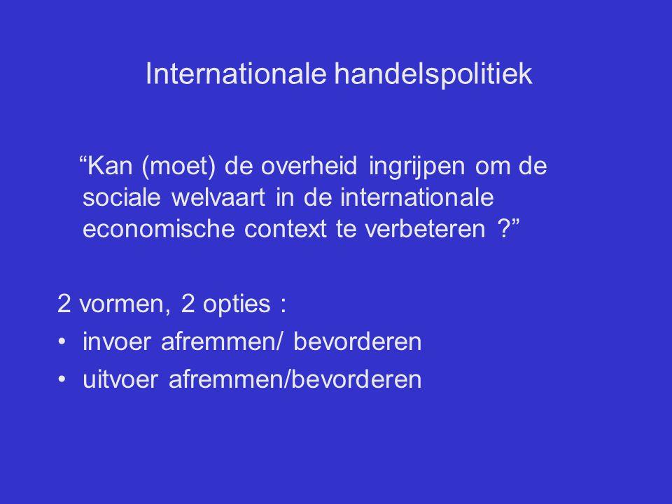 Internationale handelspolitiek Instrumenten van het handelsbeleid analyse van de interventievormen : –tarifaire, niet-tarifaire interventie; –klein land  groot land; –perfecte concurrentie  imperfecte concurrentie