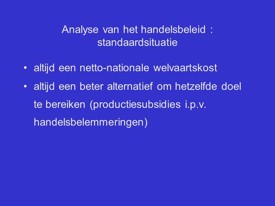 Analyse van het handelsbeleid : standaardsituatie altijd een netto-nationale welvaartskost altijd een beter alternatief om hetzelfde doel te bereiken