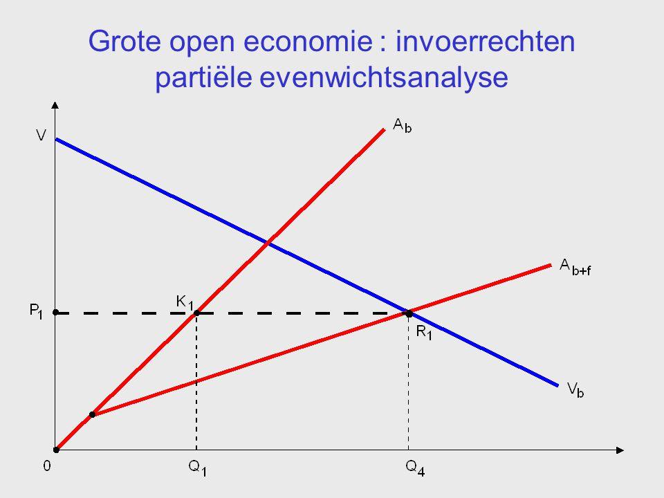Grote open economie : invoerrechten partiële evenwichtsanalyse