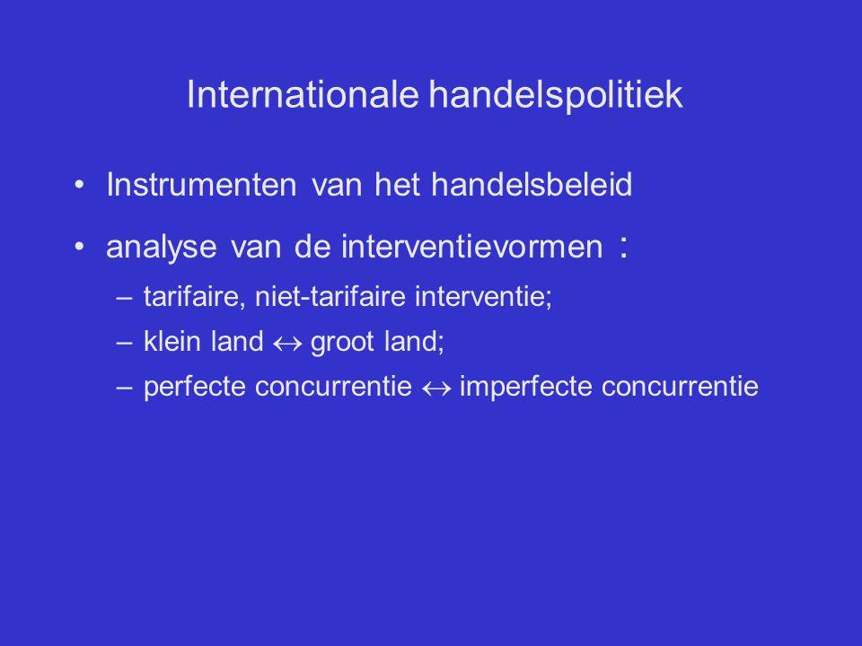 Internationale handelspolitiek Instrumenten van het handelsbeleid analyse van de interventievormen : –tarifaire, niet-tarifaire interventie; –klein la