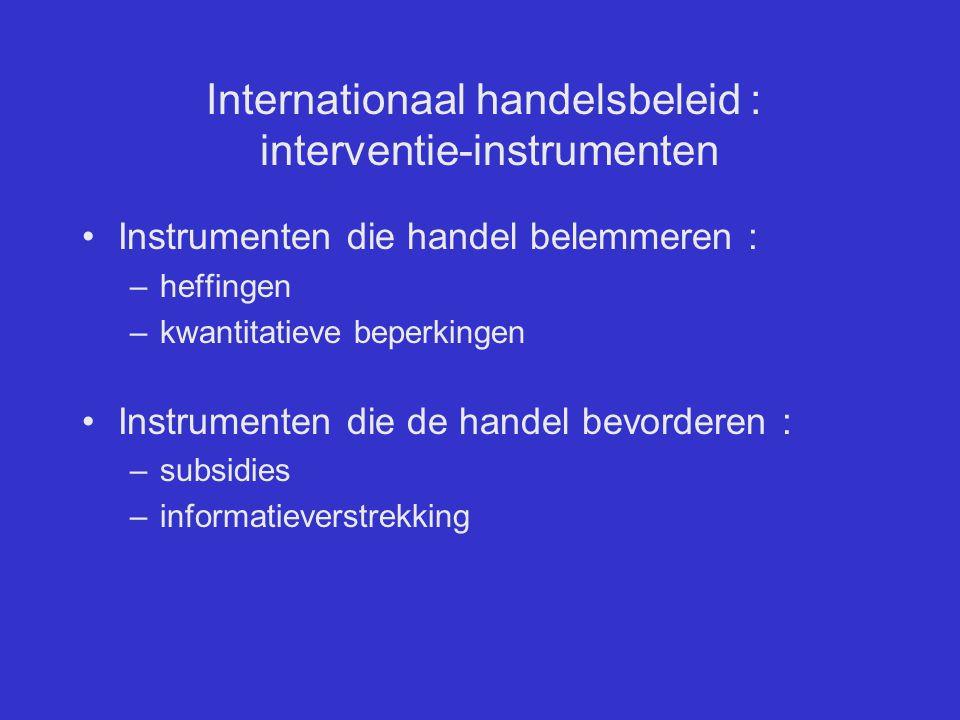 Internationaal handelsbeleid : interventie-instrumenten Instrumenten die handel belemmeren : –heffingen –kwantitatieve beperkingen Instrumenten die de