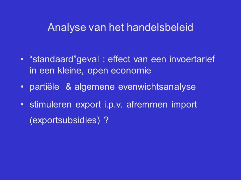 """Analyse van het handelsbeleid """"standaard""""geval : effect van een invoertarief in een kleine, open economie partiële & algemene evenwichtsanalyse stimul"""