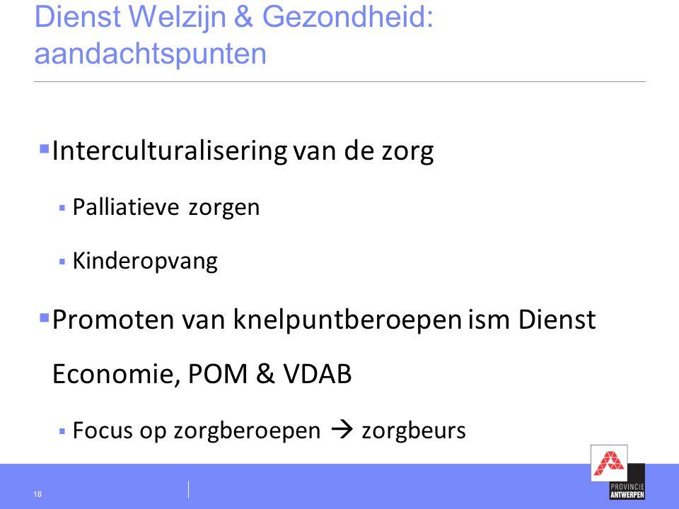 Dienst Welzijn & Gezondheid: aandachtspunten  Interculturalisering van de zorg  Palliatieve zorgen  Kinderopvang  Promoten van knelpuntberoepen ism Dienst Economie, POM & VDAB  Focus op zorgberoepen  zorgbeurs 18
