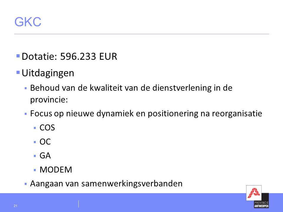 GKC  Dotatie: 596.233 EUR  Uitdagingen  Behoud van de kwaliteit van de dienstverlening in de provincie:  Focus op nieuwe dynamiek en positionering na reorganisatie  COS  OC  GA  MODEM  Aangaan van samenwerkingsverbanden 21