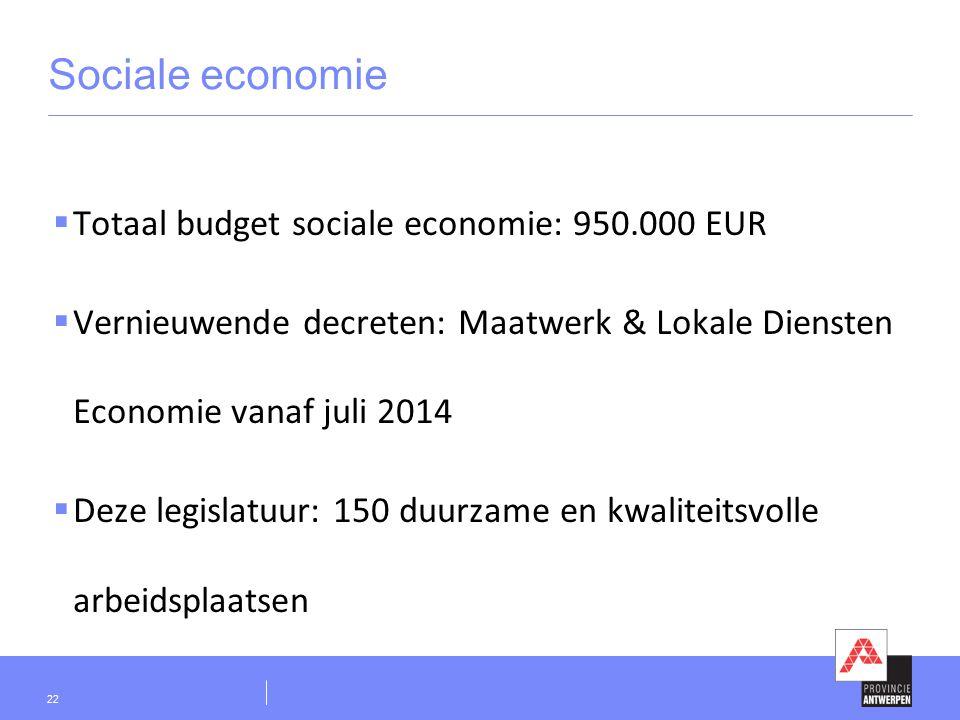 Sociale economie  Totaal budget sociale economie: 950.000 EUR  Vernieuwende decreten: Maatwerk & Lokale Diensten Economie vanaf juli 2014  Deze legislatuur: 150 duurzame en kwaliteitsvolle arbeidsplaatsen 22