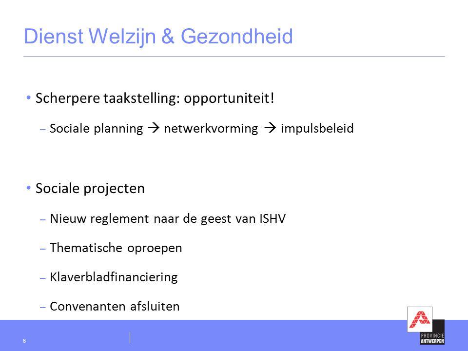 Dienst Welzijn & Gezondheid  Initiatieven van impulsbeleid  Provinciedekkend aanbod van aangepast vervoer  Beleid rond dak- en thuisloosheid  Arbeidszorg en vermaatschappelijking van de zorg  Zelfregie van zorg  Buurtversterking  Projecten rond ondersteuning van mantelzorgers  Vrijwilligerswerk 7