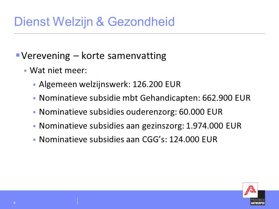 Dienst Welzijn & Gezondheid  Verevening – korte samenvatting  Wat niet meer:  Algemeen welzijnswerk: 126.200 EUR  Nominatieve subsidie mbt Gehandicapten: 662.900 EUR  Nominatieve subsidies ouderenzorg: 60.000 EUR  Nominatieve subsidies aan gezinszorg: 1.974.000 EUR  Nominatieve subsidies aan CGG's: 124.000 EUR 8