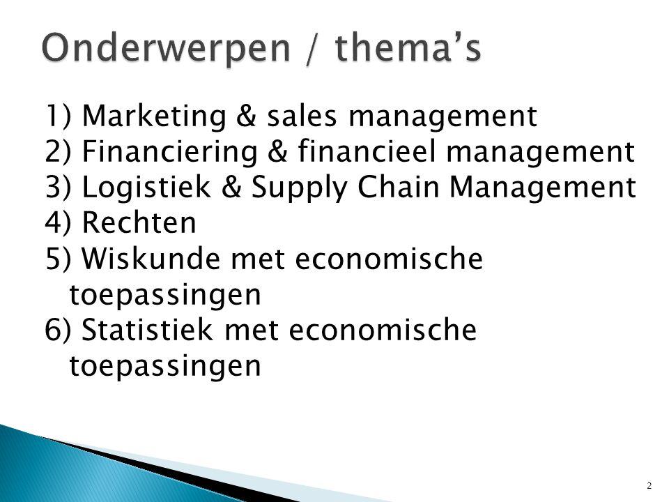 1) Marketing & sales management 2) Financiering & financieel management 3) Logistiek & Supply Chain Management 4) Rechten 5) Wiskunde met economische toepassingen 6) Statistiek met economische toepassingen 2