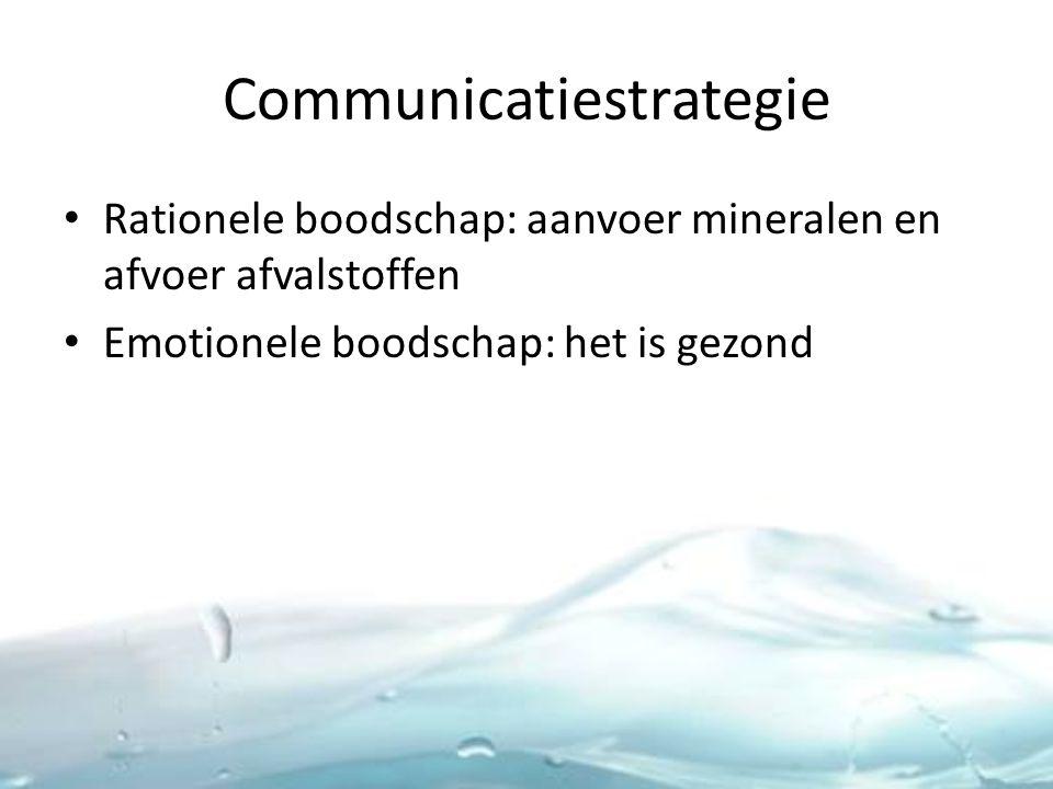 Communicatiestrategie Rationele boodschap: aanvoer mineralen en afvoer afvalstoffen Emotionele boodschap: het is gezond